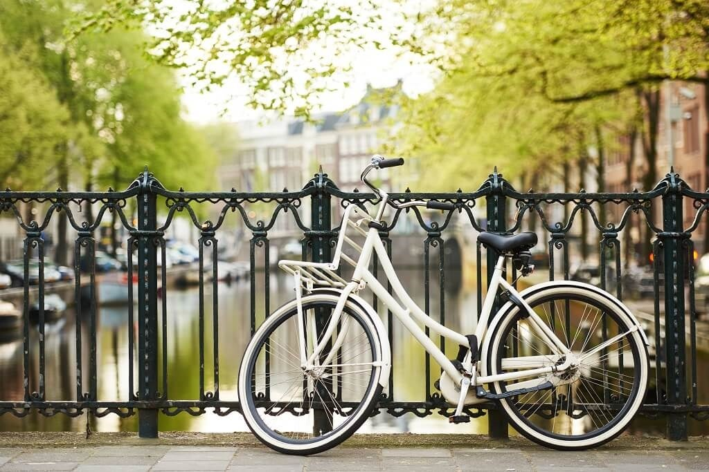 A white bicycle in Amsterdam