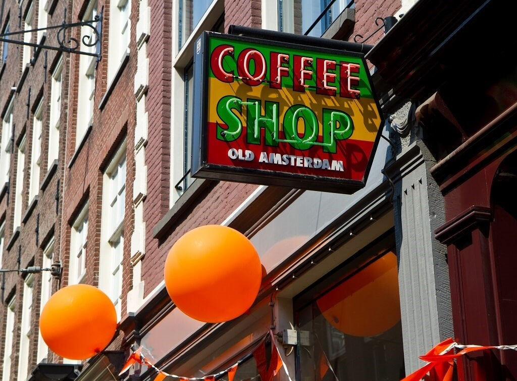 Amsterdam coffee shop street sign