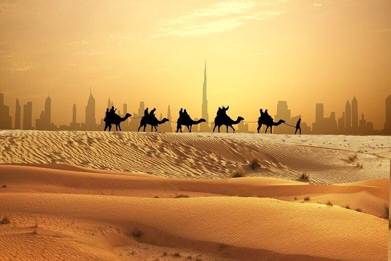 Arabian desert with Dubai in background