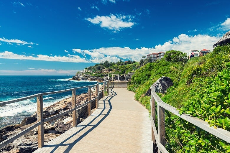 Walking path at Bondi beach