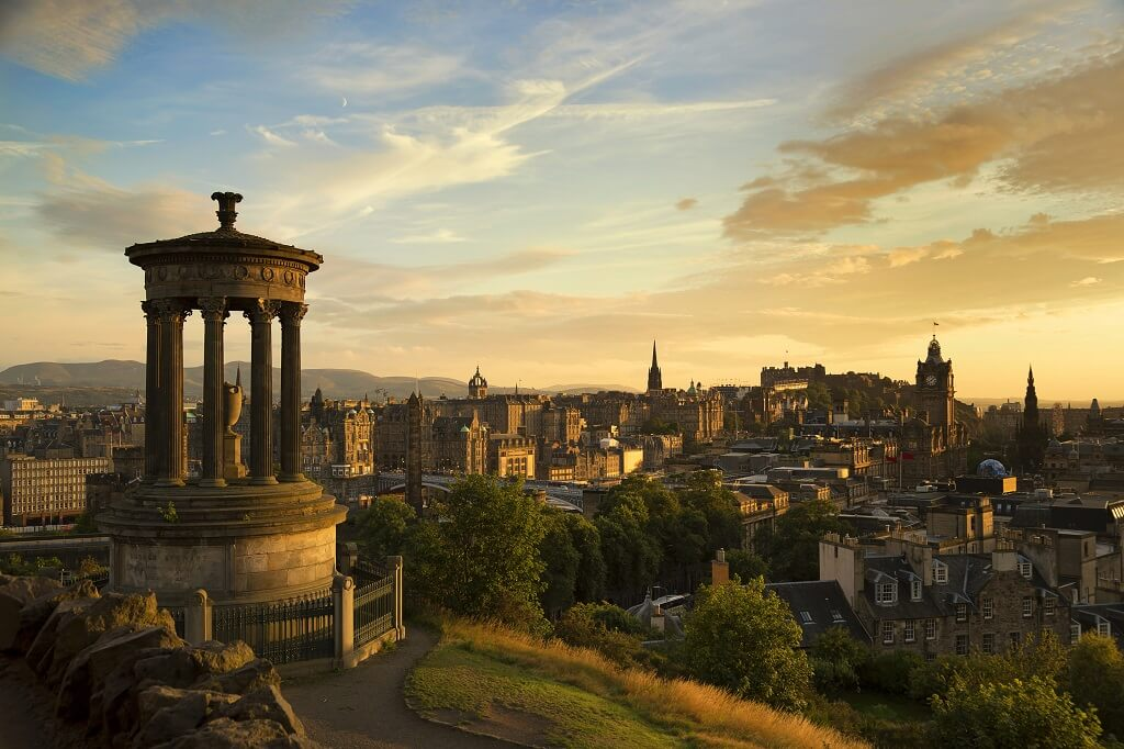 A view of Edinburgh at sunset
