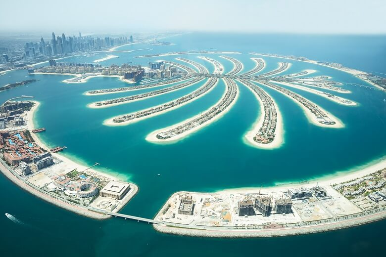 An Areal view of Palm Island in Dubai