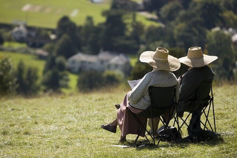 retired couple overlooking countryside