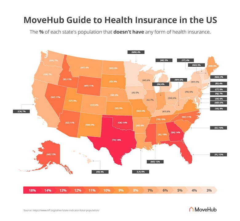 map of health insurance coverage by US state
