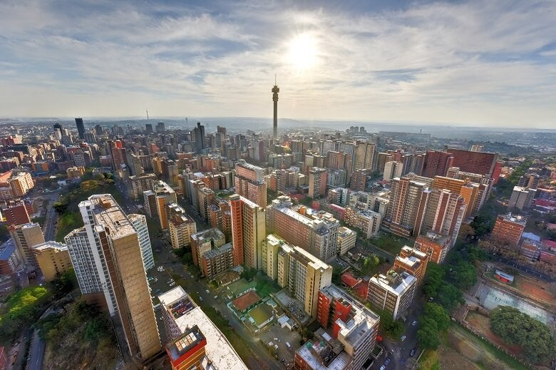 Areal view of Johannesburg