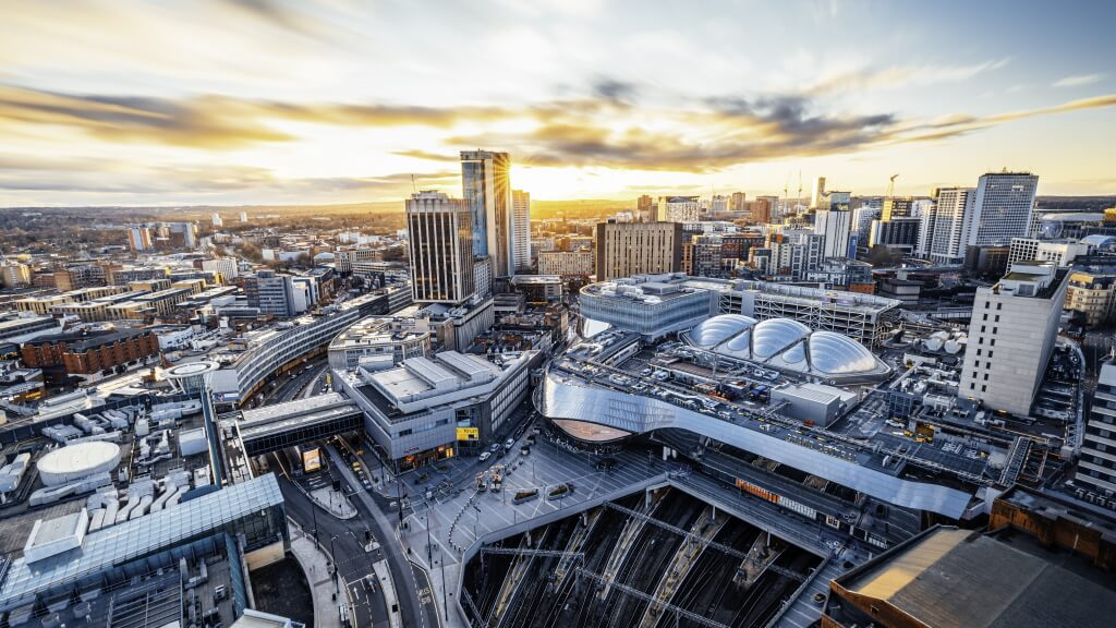 Birmingham's Grand Central shopping centre at sunset