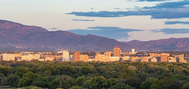 a skyline view of albuquerque in New Mexico, US