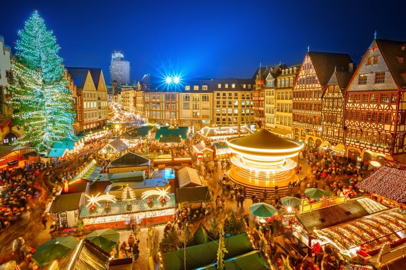 A Christmas market in Frankfurt - which can go to after moving to Germany