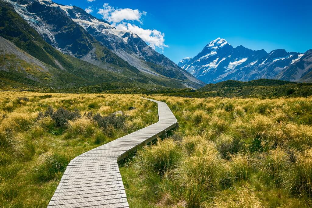 a view of Mount cook from the Hooker Valley, New Zealand