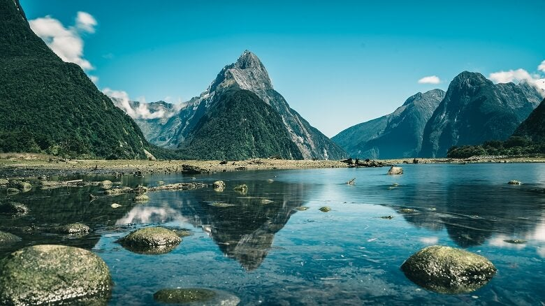 A view of mountains in New Zealand