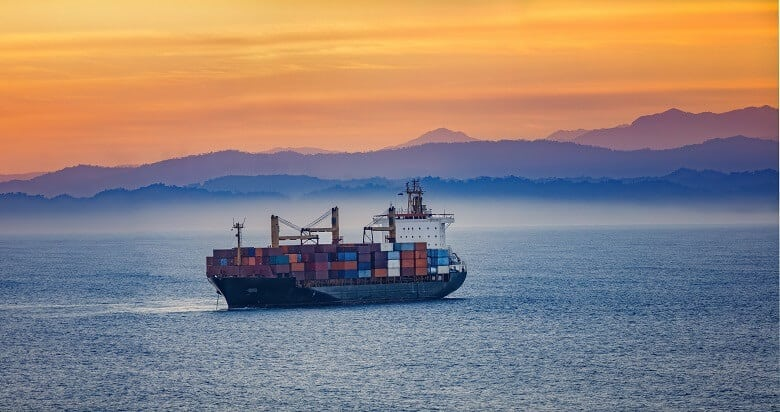 Container ship in the sunset