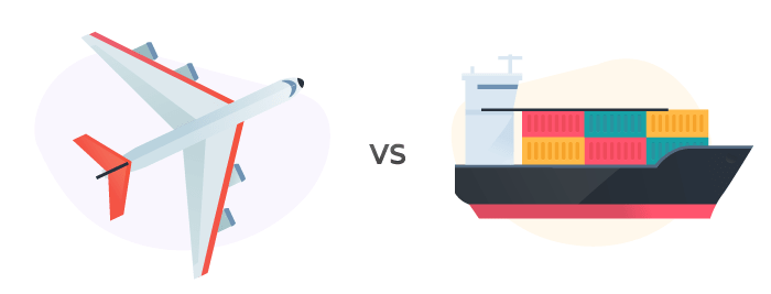 cartoon plane and container ship