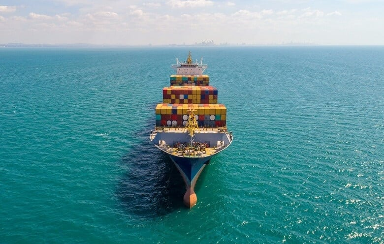A container ship sailing on the ocean