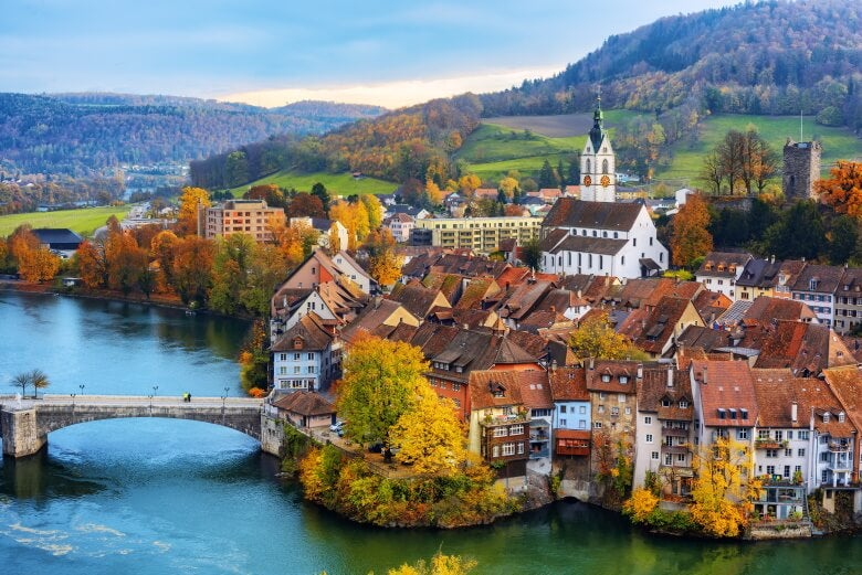 a town and river in switzerland