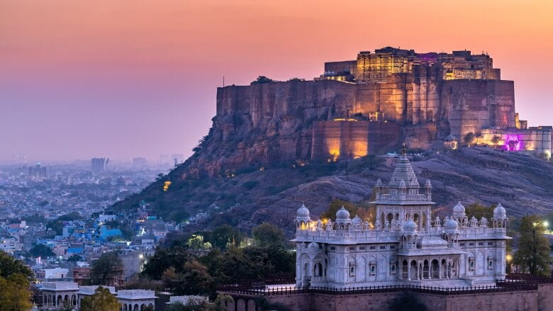 The Jaswant Thada and Mehrangarh Fort, India