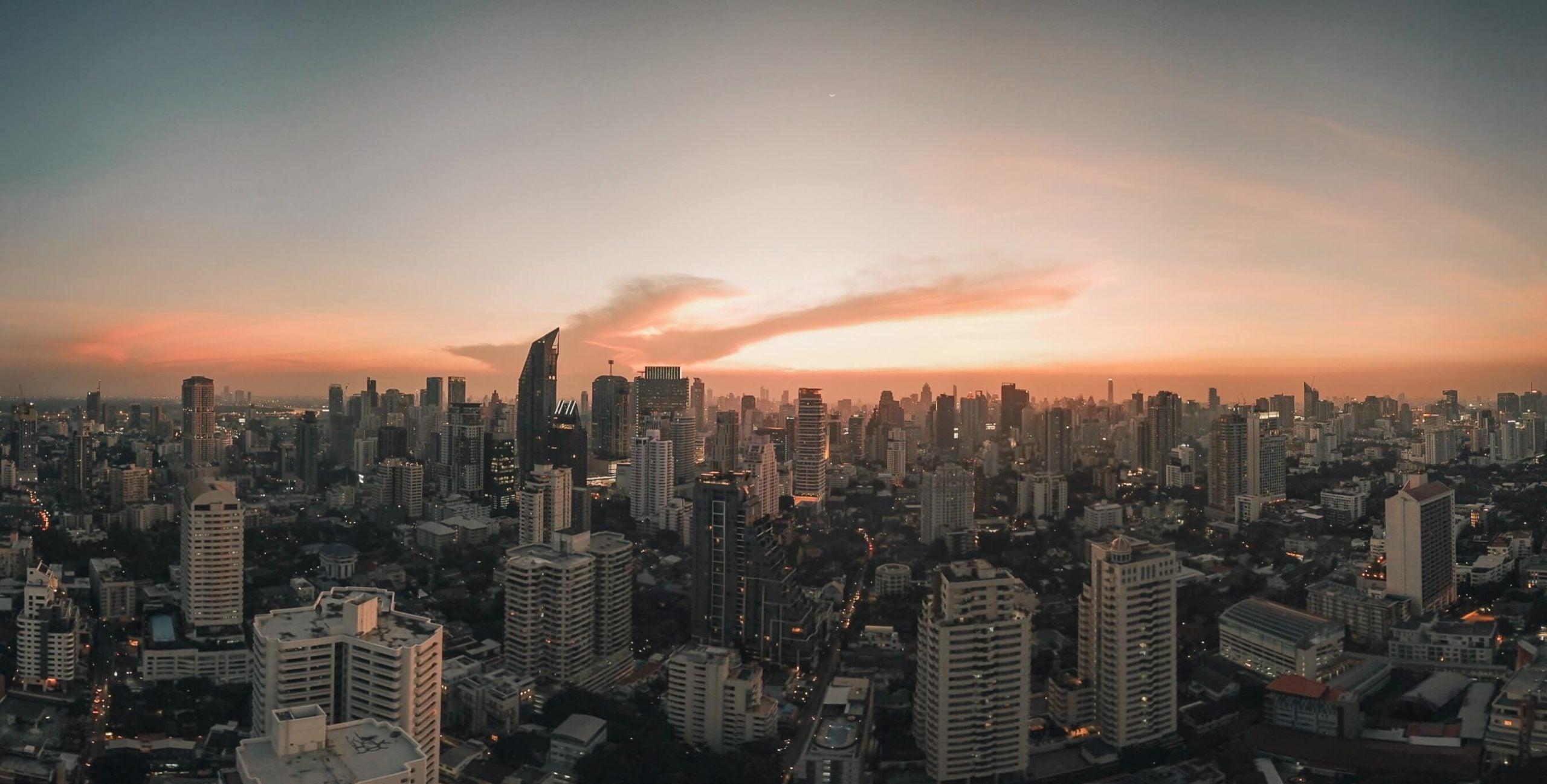 View of Bangkok at dusk