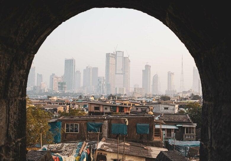 Poor area of Mumbai, India