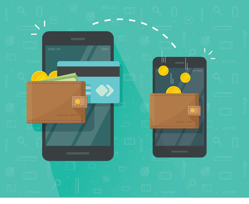 cartoon of two phones transferring money