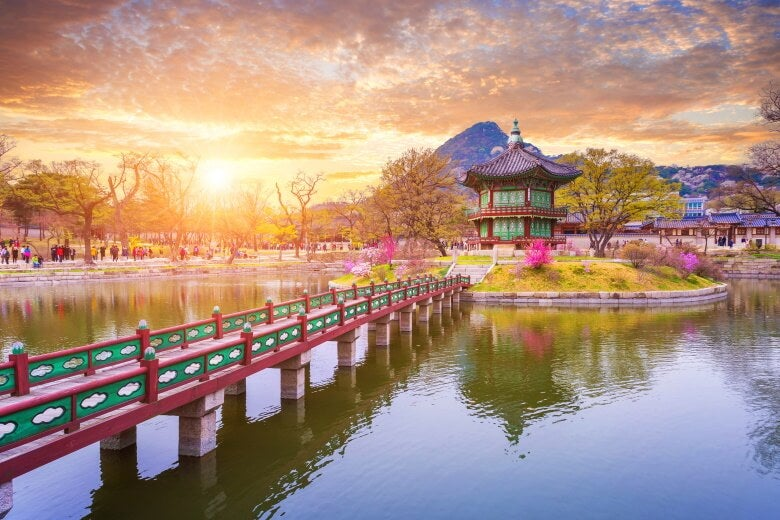 Gyeongbokgung palace in spring, South Korea