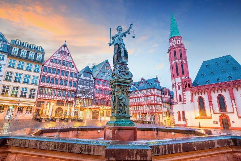 Town square in Frankfurt, Germany