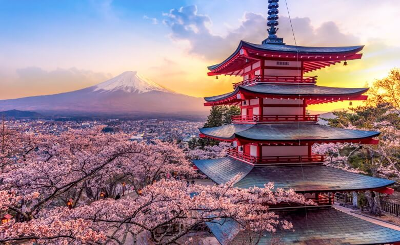 mount Fuji and Chureito pagoda, Japan