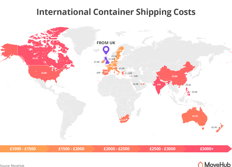 a map showing container shipping cost rates around the world
