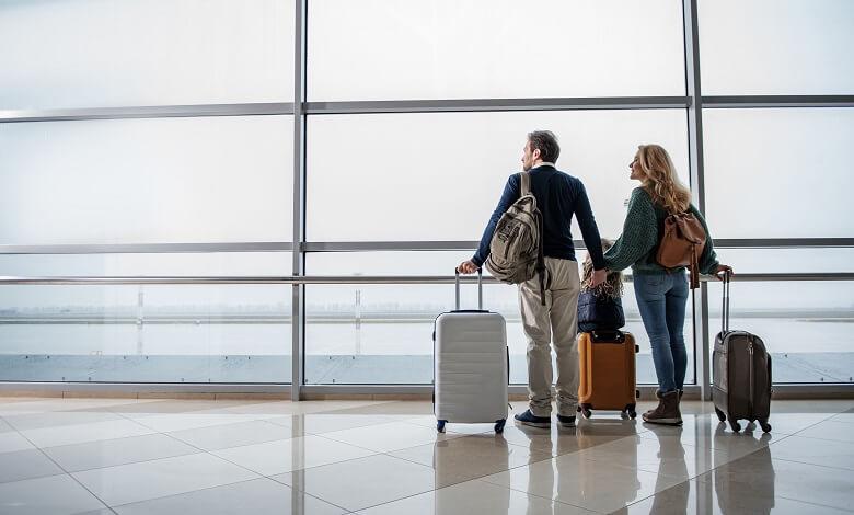 couple waiting at airport