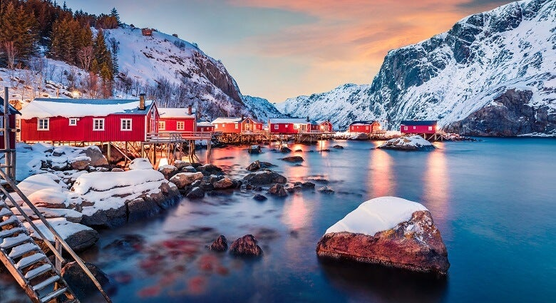 A view of the sunset in Norway