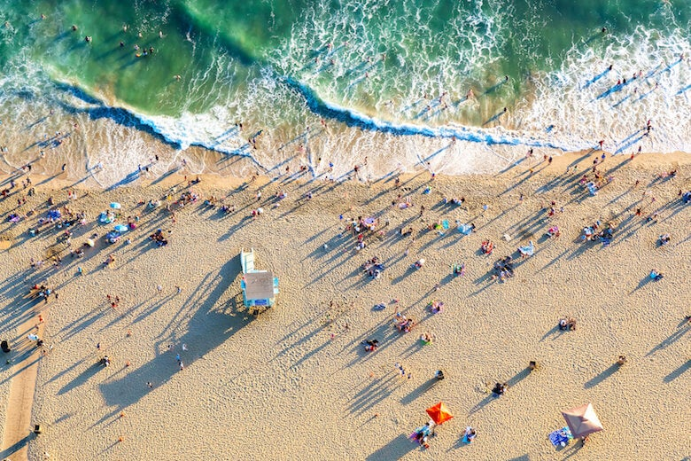 people on santa monica beach