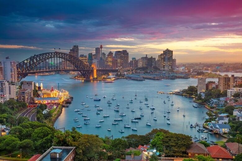 image of Sydney, Australia with Harbour Bridge and Sydney skyline during sunset