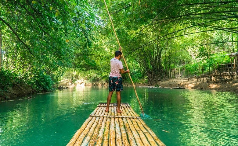 Bamboo row boat in Jamaica