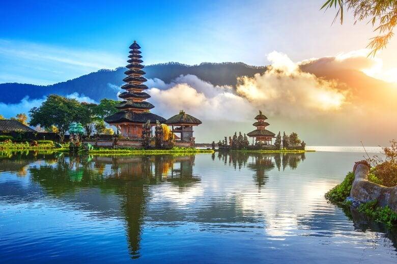 the pura ulun danu bratan temple in Bali, indonesia.