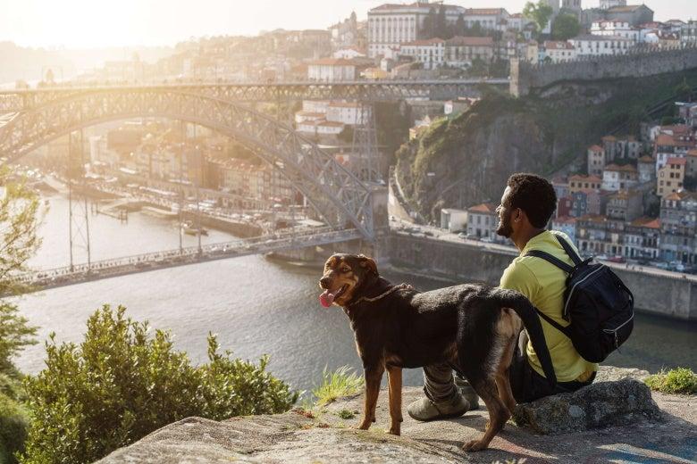 man with dog enjoying city view in Porto