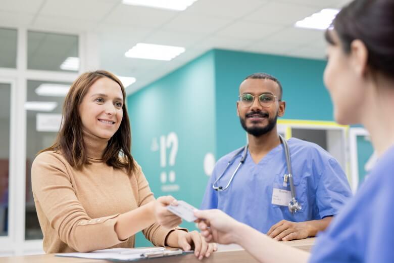 NHS patient and doctors