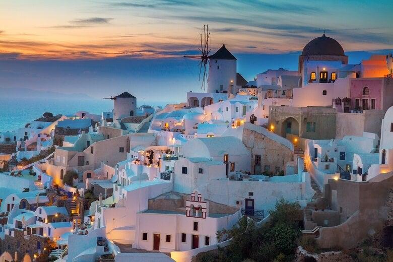 Santorini white houses at sunset