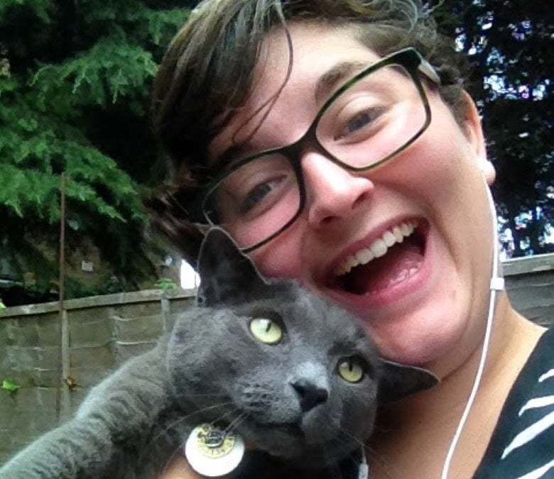 a human holding a grey cat